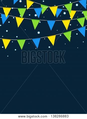Brazilian flag themed decorative buntings flyer design