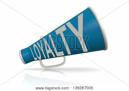 Blue Megaphone With Loyalty Word