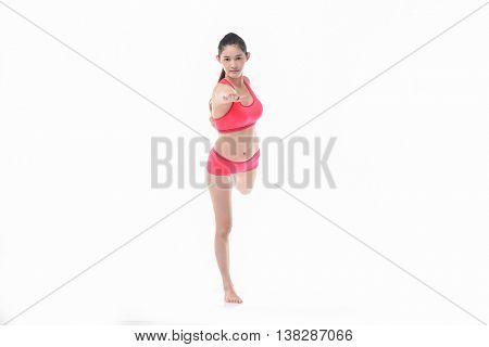 Full length asian girl with yoga pose