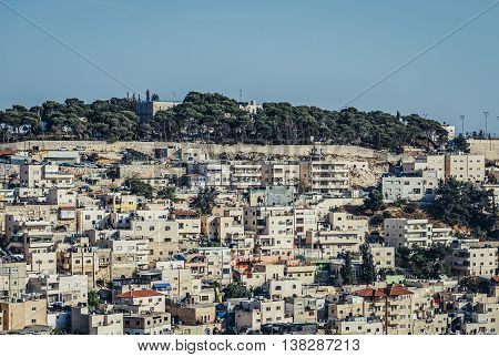 Jerusalem Israel - October 22 2015. Building in Silwan district district inhabited mainly by Palestinians in Jerusalem