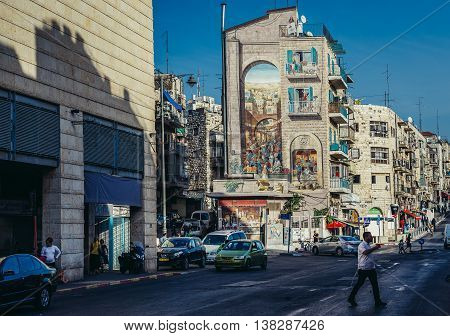 Jerusalem Israel - October 22 2015. View of Ha-Rav Shmuel Barukh Street in Jerusalem city