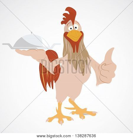 Cartoon rooster holding serving dish, showing thump up