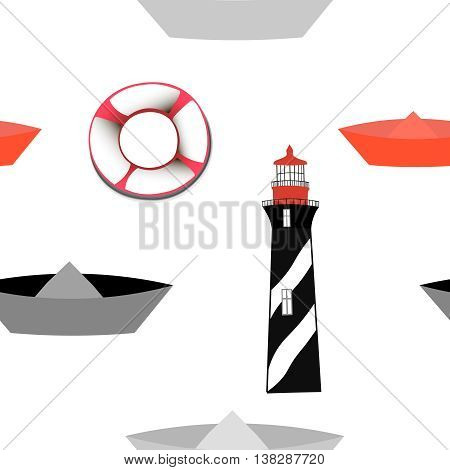 Seamless pattern with lighthouse and paper boats