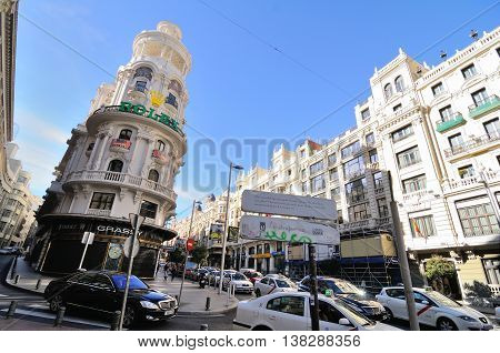 MADRID, SPAIN - OCTOBER 26: View of Gran Via, October 26, 2010, in Madrid, Spain. Gran Via - main shopping street in Madrid, capital of Spain.