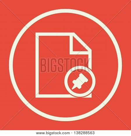 File Pin Icon In Vector Format. Premium Quality File Pin Symbol. Web Graphic File Pin Sign On Red Ba
