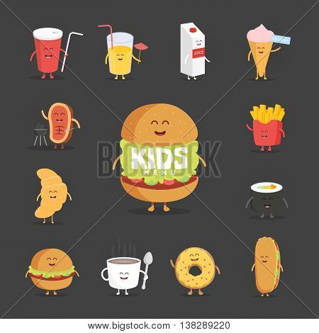 Set of cute cartoon fast food characters . French fries , pizza , donut , hot dog , popcorn , hamburger , cola , croissant and coffee mug . Template for menu of cafes and restaurants . Kids food.
