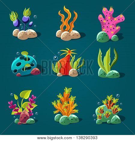 Set of cartoon algae, elements for aquarium decoration. illustration.