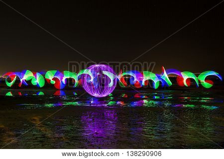 Purple orb light painting and pixelstick colourful pattern