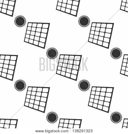 Solar energy panel icon seamless pattern on white background. Vector Illustration