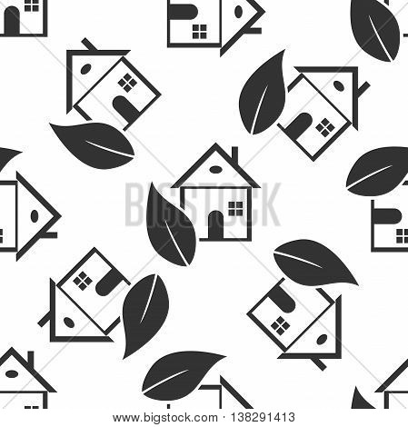 Eco House icon seamless pattern on white background. Vector Illustration
