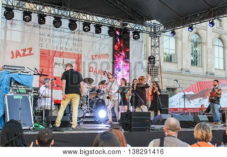 St. Petersburg, Russia - 2 July, Dancing on the open stage musicians, 2 July, 2016. Annual international festival of jazz and blues in St. Petersburg.