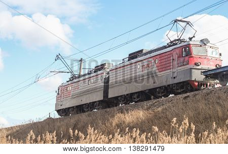 St. Petersburg, Russia - 7 April, Locomotive on the railroad, 7 April, 2016. Transport on rail locomotives and wagons with tanks.
