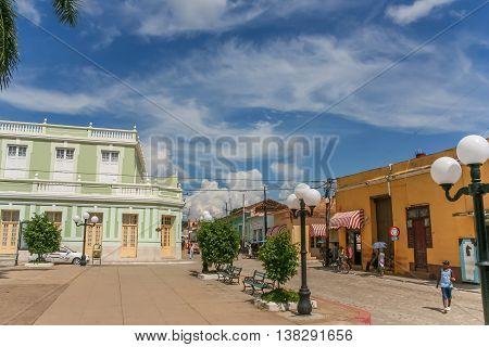 TRINIDAD, CUBA - SEPTEMBER 28, 2007: Central square in historical town Trinidad, Cuba