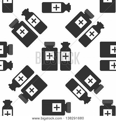Medical bottles icon seamless pattern on white background. Vector Illustration