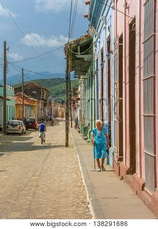 TRINIDAD, CUBA - SEPTEMBER 28, 2007: Old cobblestones street in the historical center of Trinidad, Cuba