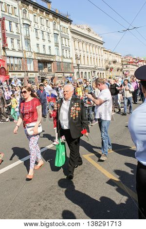 St. Petersburg, Russia - 9 May, An elderly man with medals, 9 May, 2016. Memory Action