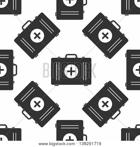First aid box icon seamless pattern on white background. Vector Illustration