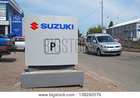 Suzuki dealership logo.Suzuki is a Japanese multinational corporation specializing in manufacturing automobiles, four-wheel drive vehicles, motorcycles.July 12, 2016 Kiev, Ukraine