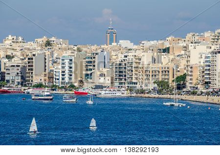 Gzira Malta - November 8 2015: View of Gzira a town located in Marsamxett Harbour as seen from Valletta. Waterfront and densely built-over modern buildings.