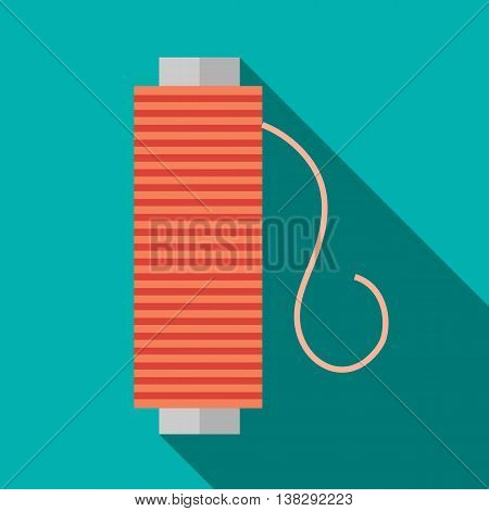 Bobbin of red thread icon in flat style on a turquoise background