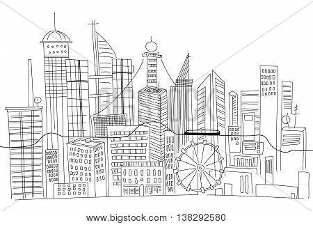 Hand drawn business center of big city street skyscrapers megapolis buildings concept real estate architecture, commercial building.