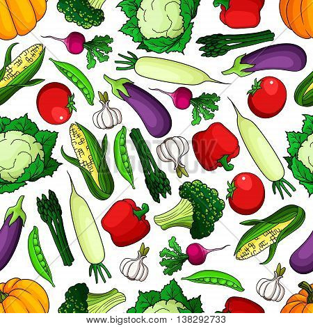 Ripe and healthy farm vegetables seamless pattern. Tomato and radish, pumpkin and bell pepper, pea pod, garlic and corn cob, cabbage, broccoli, asparagus and daikon. Agriculture and vegetarian theme
