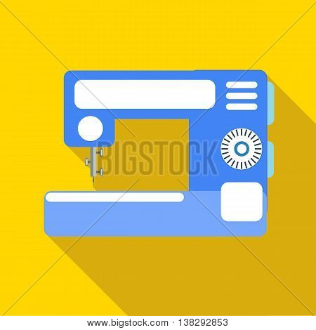 Modern sewing machine icon in flat style on a yellow background
