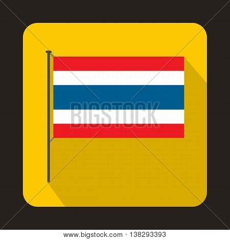Flag of Thailand with flag pole icon in flat style on a yellow background