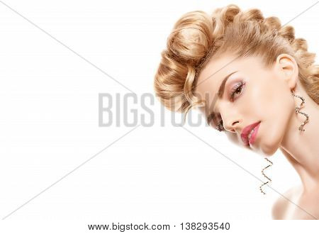Fashion natural Makeup. Beauty woman with mohawk hairstyle. Blonde nude sexy Model girl, shiny hair makeup, Fashion eyelashes, perfect skin. Creative unusual fashion hairstyle.Skincare concept, model