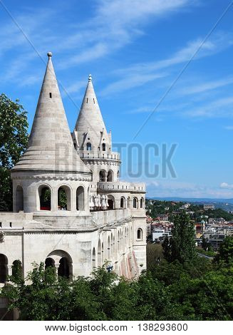 Fisherman's Bastion on the Castle Hill on the bank of Buda side of Danube River Budapest