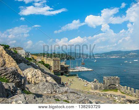 Aerial view of Gulf of Poets in Porto Venere village, Cinque Terre Unesco Heritage, La Spezia province, Italy.