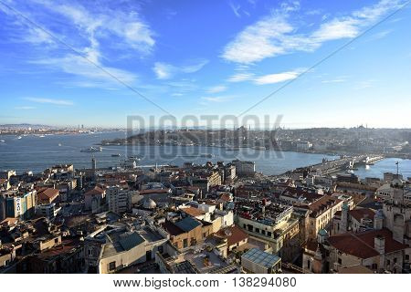 Sunset time of Istanbul historical peninsula and sea