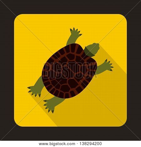 Turtle icon in flat style on a yellow background