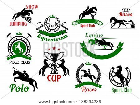 Equestrian or horse racing sport icons. Banners and badges of horse and rider silhouettes jumping over fence or barrier, whips under crown and rearing horses with trophy cup, polo sport club and horseshoe