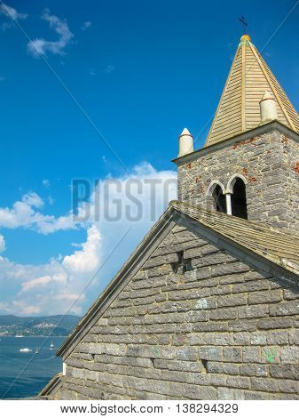 Close up of the famous gothic Church of St. Peter, Chiesa di San Pietro, in Porto Venere, Ligurian Coast, La Spezia, Italy.