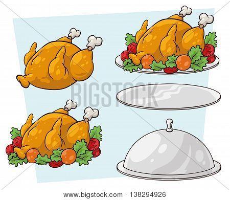 A vector illustration set of cartoon tray and chicken