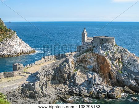 Aerial view of church of St. Peter, Porto Venere in Cinque Terre, La Spezia Province, Italy.
