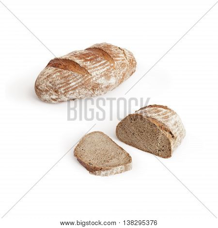 European sliced bread isolated on white with shadow