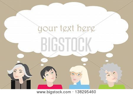 Four elderly and old women with thinking bubble above their heads.
