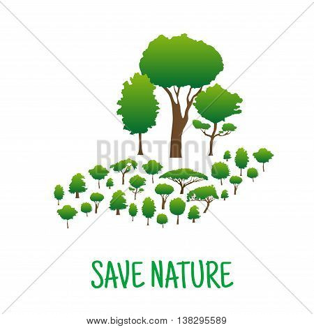 Hand made of green trees holding trees with bigger upper branches. Save nature and planet,  environment and ecology concept