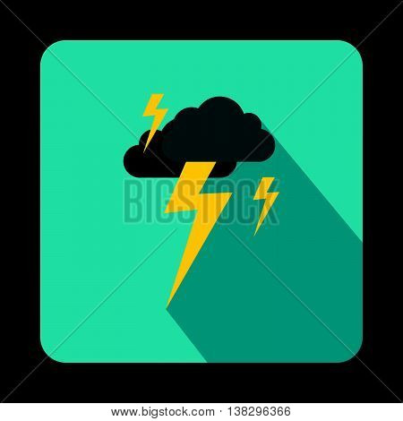 Gray cloud and lightning icon in flat style on a baby blue background