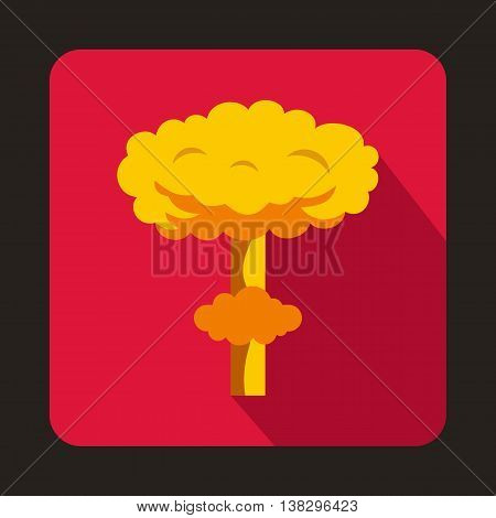 Nuclear explosion icon in flat style on a pink background