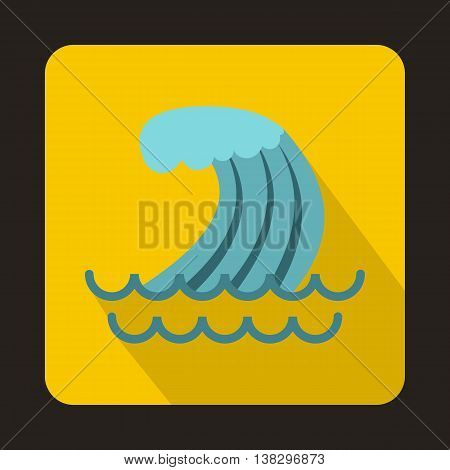Tsunami wave icon in flat style on a yellow background