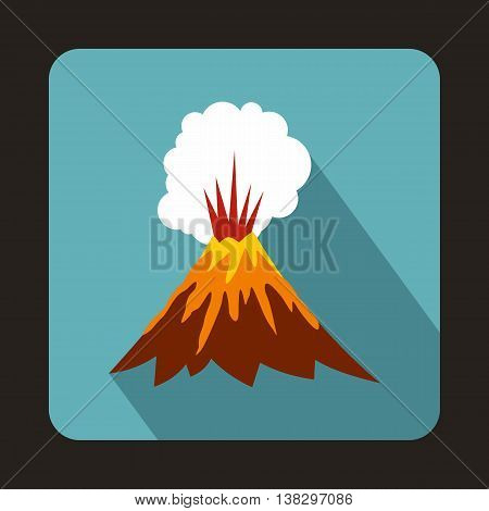 Volcano erupting icon in flat style on a baby blue background