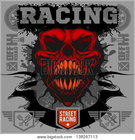 Motor racing demon - vector emblem for t-shirt