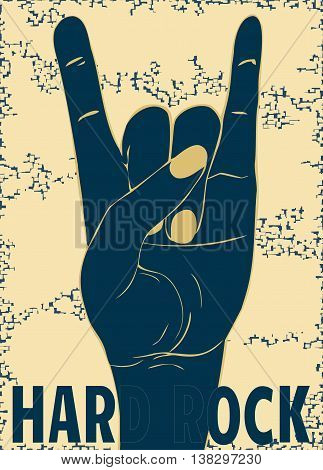 Rock-n-roll  hand gesture. Punk rock style template for slogan, poster, flyers ,   banner and etc. Vector illustration on yellow background. The vertical arrangement.