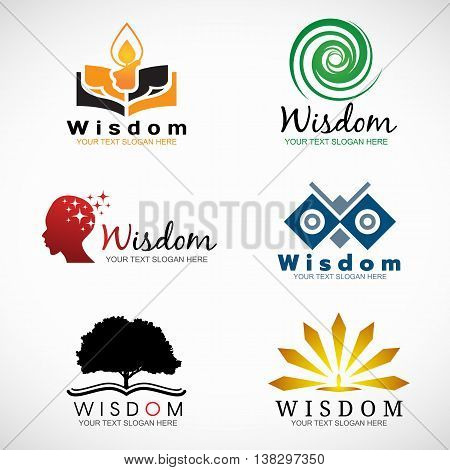 Wisdom and knowledge logo vector set design