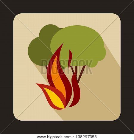 Burning forest trees icon in flat style on a beige background