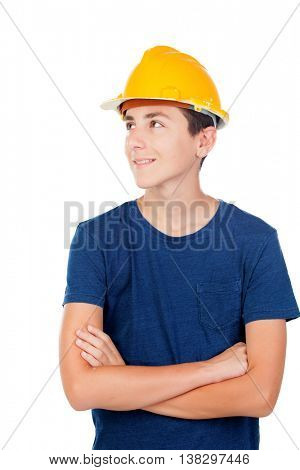 Young kid with yellow helmet. A future architect isolated on a white background