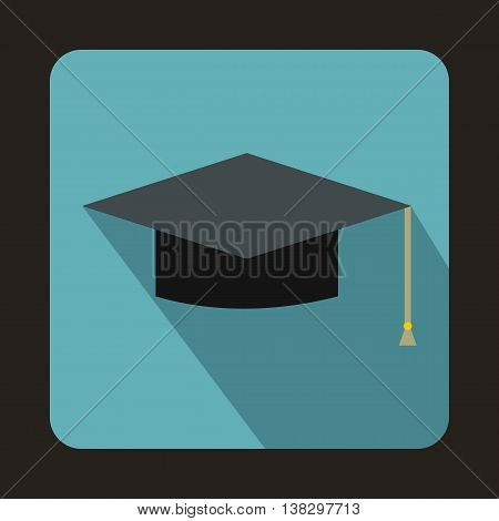 Graduation cap icon in flat style on a baby blue background